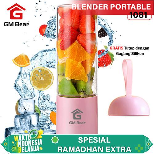 Foto Produk GM Bear Portable USB Blender Kaca 4 Mata Pisau-Portable Blender Juicer - Merah Muda dari GM Bear