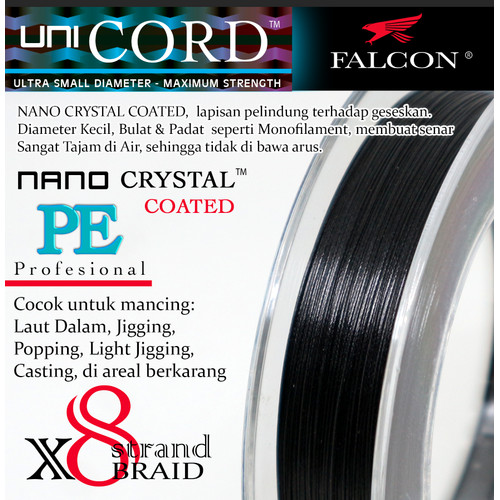 Foto Produk Senar Pancing PE X8 Falcon Uni Cord Nano Crystal Coated 200M - Hitam, PE 2.5 dari Falcon Indoesia