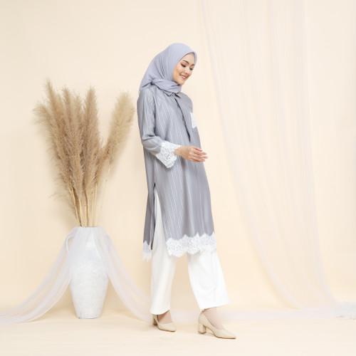 Foto Produk Nafashakila Raniya Atasan Tunik Muslim Pink, Abu, Hitam bisa Busui - Abu-abu dari nafashakila