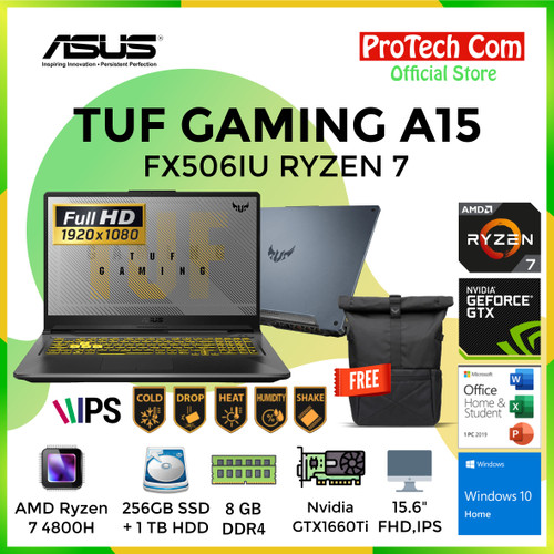 Foto Produk ASUS TUF GAMING A15 FX506IU RYZEN 7 4800H 8GB 256GB+1TB GTX1660Ti 6GB dari Protech Computer