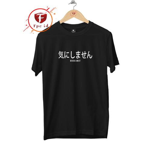 Foto Produk Kaos Tulisan Jepang BODO AMAT - Baju Kaos Distro Pria - Kaos Cewek - Putih, S dari FPC_ID