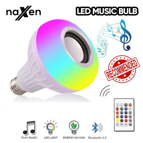Foto Produk Naxen Speaker Bluetooth Bohlam Lampu LED RGB Music + Remote Control dari TokoUsbcom