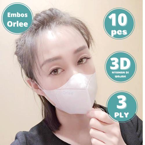 Foto Produk Masker Duckbill 3D Embos Orlee 3 Ply 3Ply Earloop Kemenkes isi 10 pcs - Putih dari lbagstore