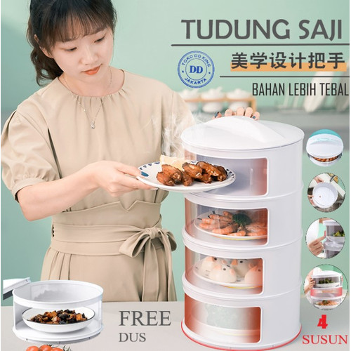 Foto Produk TUDUNG SAJI SUSUN RAK MAKANAN 4 SUSUN FOOD COVER TAHAN PANAS BOX - Putih dari TOKO DD KING