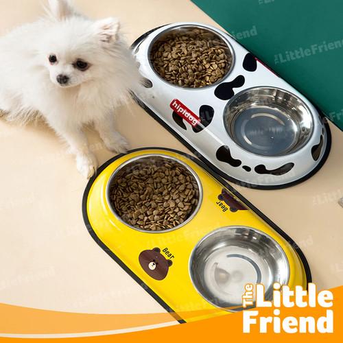Foto Produk Mangkuk Dua Tempat Makan Minum Hewan/Anjing/Kucing/Kelinci Stainless - Daisy Pink dari The Little Friend