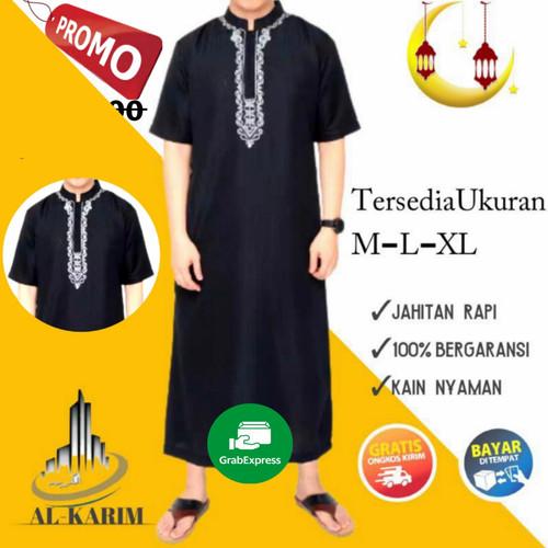 Foto Produk BAJU JUBAH GAMIS MUSLIM PRIA DEWASA ARAB PRIA BORDIR - Hitam Pendek, M dari Cak Karim17