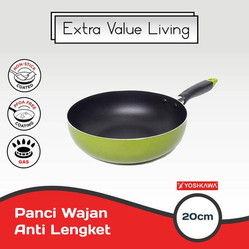 Foto Produk YOSHIKAWA Teflon/Wajan Tumis 20 CM Wok Pan EVL-CL-12-01 Hijau dari Extra Value Living