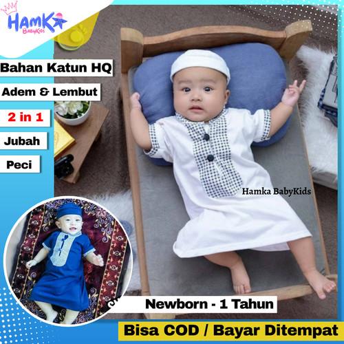 Foto Produk Baju Koko Bayi 6 12 Bulan 1 Tahun Laki Laki 0 6 Bulan Jubah Newborn - Putih, 6-12 Bln /KKU02 dari Hamka BabyKids