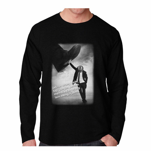 Foto Produk Kaos Pria BAIK Lengan Panjang T-shirt Distro Baju Pria/Oblong pria - Hitam, M dari JON_STAR