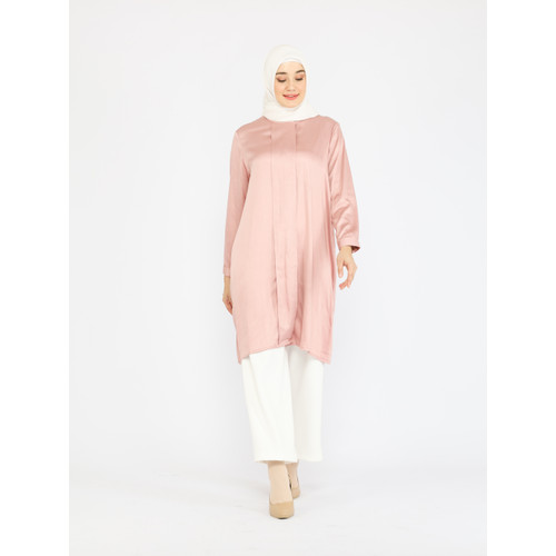 Foto Produk Nafashakila Yaara Tunik Atasan Muslim Pink, Baby Blue, Orange, Olive - Merah Muda dari nafashakila