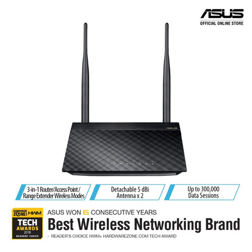 Foto Produk ASUS RT-N12+ Wireless 300Mbps 3-in-1 Router/ AP/ RE for multiple use dari Megacomp Online