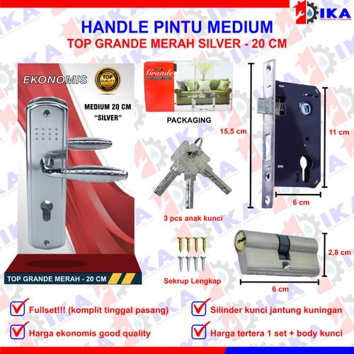 Foto Produk GAGANG RUMAH HANDLE SET + KUNCI PINTU 15 & 20 CM SMALL & MEDIUM - GRAN20CMSILVER dari Indokaryaabadi