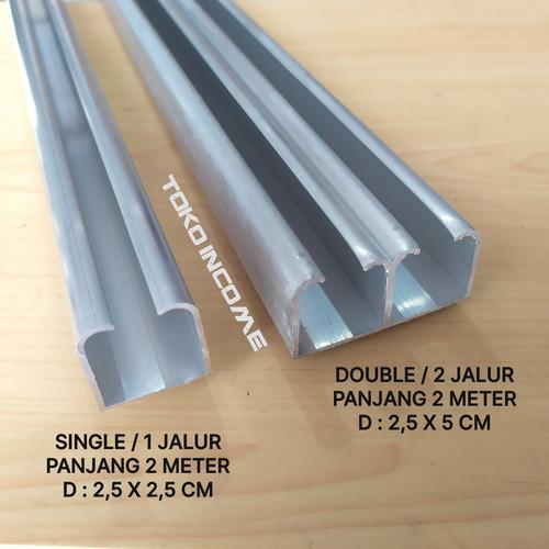 Foto Produk Rel Sliding B 004 Aluminium Pintu Geser / Gantung Single Double 2 M dari Toko Income