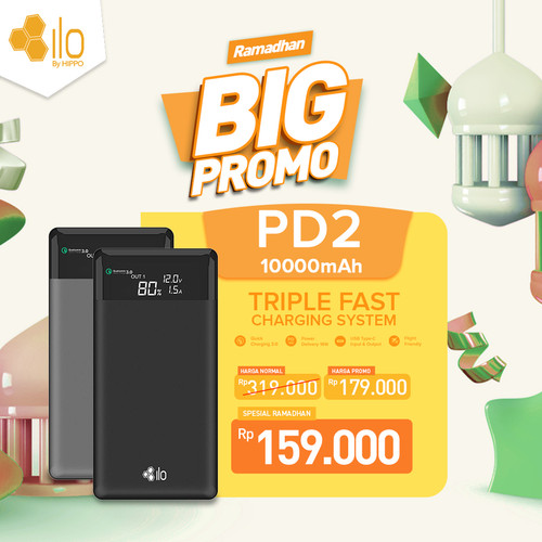Foto Produk Hippo Power Bank Ilo PD2 10000 mAh Triple Quick Charging 3.0 - Abu-abu dari iLo Official Store