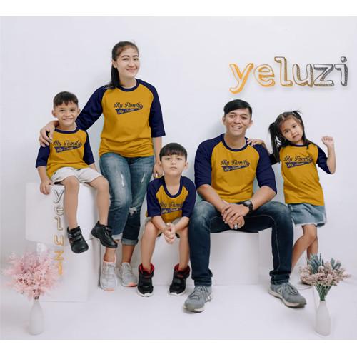Foto Produk Kaos baju pakaian atasan Couple sarimbit keluarga My team kunyit - S anak dari yeluzi