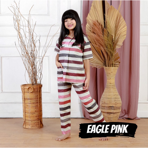 Foto Produk Baju Tidur Anak Perempuan Cewek Piyama Katun Eagle Pink 1-9 Tahun - Eagle Pink S dari Warna Piyama