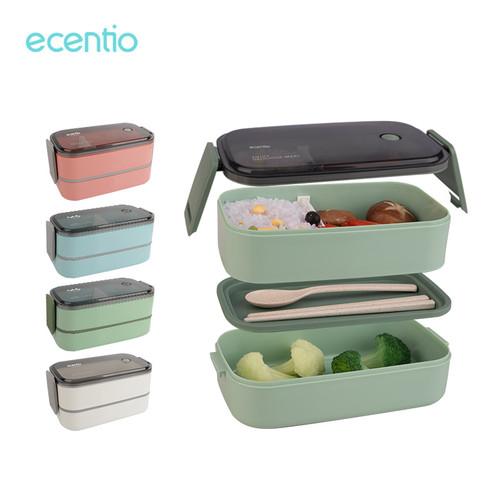 Foto Produk ecentio Kotak Makan Siang Desain Tingkat 800/1600 ml - 1600 ml, Merah Muda dari ecentio Official Store