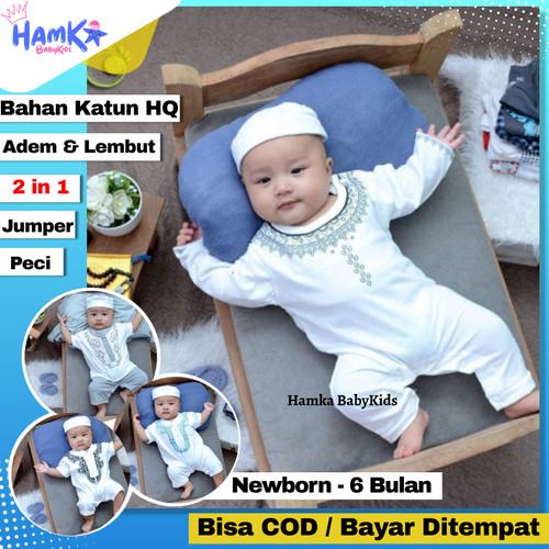 Foto Produk Jumper Baju Koko Bayi Laki Laki 0 6 Bulan New Born Newborn Ozuka Murah - KDM03 - Hitam dari Hamka BabyKids