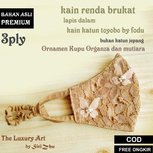 Foto Produk Masker Brokat Payet Cantik Pesta Hijab Headloop 3Ply Lapis Toyobo Fodu - COKSU dari SitiZhu accesorries