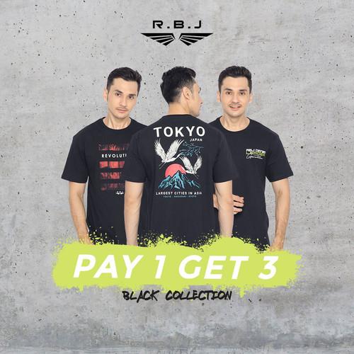 Foto Produk Pay 1 Get 3 RBJ T-Shirt All Black Collection - Paket BC01, M dari RBJ Official