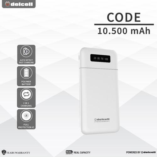 Foto Produk DELCELL CODE 10500mAh PowerBank (Digital Dislpay + Fast Charger 2.4A ) - Putih dari DelCell