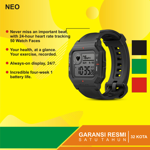 Foto Produk Amazfit Neo Retro Smartwatch Heart Rate 24/7 Garansi resmi 1tahun - Merah dari Kardel Shop