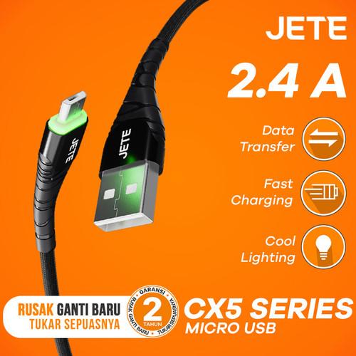 Foto Produk Kabel Data Micro USB JETE CX5 2.4A Fast Charging - Hitam dari JETE Official Surabaya
