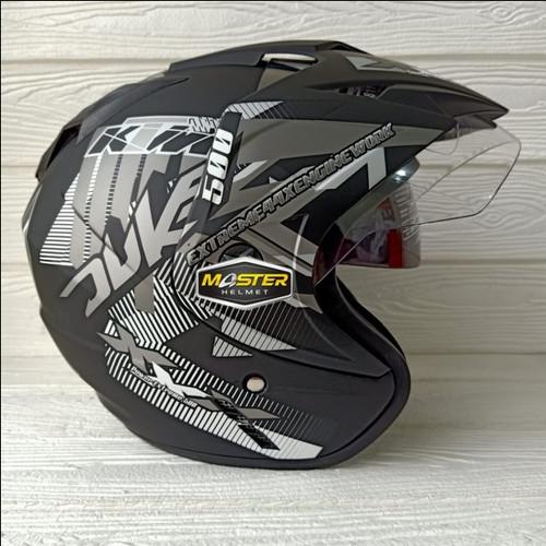 Foto Produk Helm 2 kaca (Double Visor) Murah Black doff Abu Duke BXP dari Master Helmet