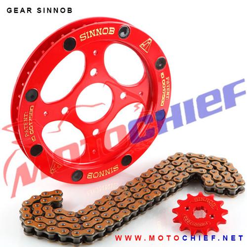 Foto Produk Gear Set Sinnob Shogun 125 Premium Rantai Gold dari Motochiefdotnet