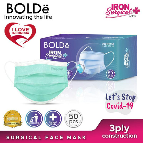 Foto Produk Iron Surgical Mask 3Ply isi 50pcs - Hijau dari BOLDe Official Store