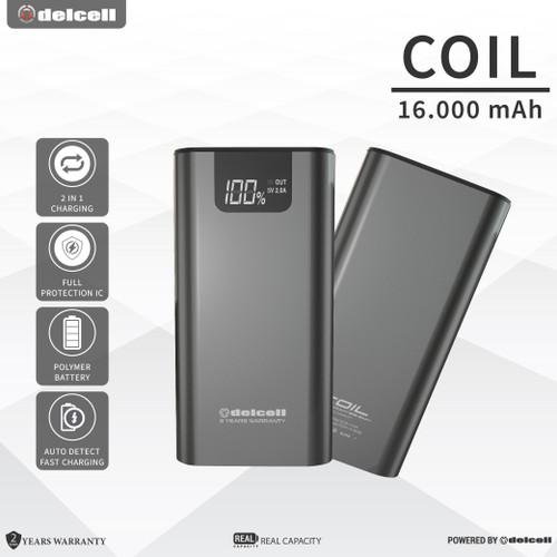Foto Produk Delcell COIL 16000mAh Powerbank Real Capacity Garansi 2 Tahun - Black dari DelCell