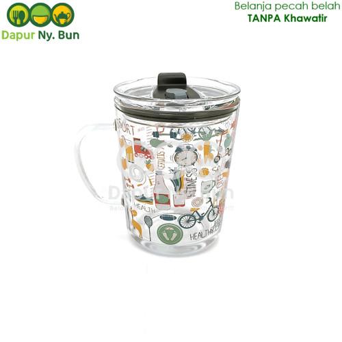 Foto Produk Premium Gelas Kaca Borosilikat GAGANG Ukuran 400ml + Tutup dari Dapur Ny.Bun