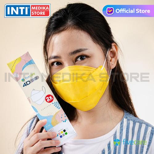 Foto Produk FIVECARE - Masker 4D Medis 4 Ply | Surgical Mask | Masker Earloop - Isi 10 Pcs, Kuning dari INTI MEDIKA STORE