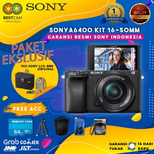 Foto Produk Sony Alpha a6400 Mirrorless Kit 16-50mm - Free Accessories - Paket 1 dari BestCam