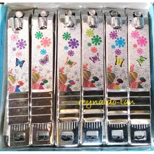 Foto Produk 12 Pcs Gunting Kuku Besar Motif Kembang Kupu Kupu panjang 7 cm Rige dari reynaldo-tan