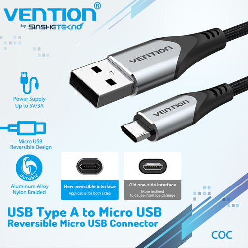 Foto Produk Vention Kabel Data Charger Micro Usb Reversible Fast Charging Android - COC Grey, 0.25 Meter dari VENTION by SinsheTekno