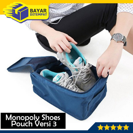 Foto Produk Tas Sepatu Olahraga Futsal Wisata / Monopoly Shoes Pouch Versi 3 - Biru Muda dari Maju Grosir