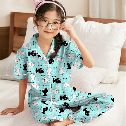 Foto Produk Baju Tidur Piyama Anak Perempuan 3-10 tahun/ Motip Terbaru BTS 21 - cat tosca, S ( 3-4 tahun) dari ciahawshop