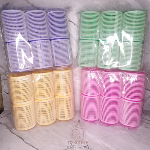Foto Produk Roll Rambut Ukuram 5cm BESAR (ISI 6pcs) / Gulungan Rambut - Merah Muda, 6 pcs dari PDQueen