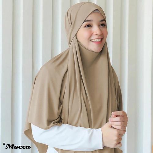 Foto Produk Hijab Jilbab Kerudung Instan French Khimar Cadar Terbaru Aisha Syari - Mocca dari gnuahijab