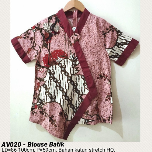 Foto Produk BLOUSE BATIK CEWEK MODERN ATASAN ETNIK BAJU FASHION WANITA MURAH BAGUS - AV020 pink dari Ace Sakura Fashion