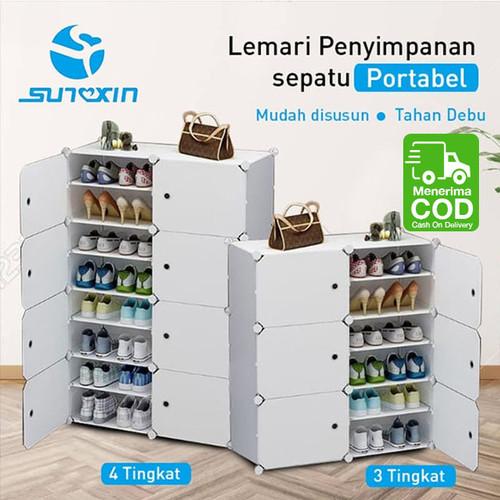 Foto Produk Lemari penyimpanan sepatu portable bongkar pasang 6 atau 8 Kotak - 8 kotak dari SUNXIN