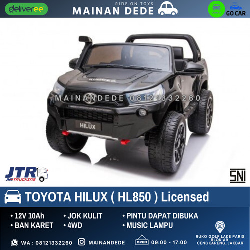 Foto Produk Mainan Mobil Aki Anak Toyota HILUX HL850 License - HITAM NON PAINT dari Mainan Anak Dede