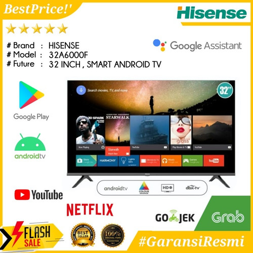 Foto Produk Hisense LED TV 32 inch 32A6000F Smart TV Android 9.0 - Garansi Resmi dari Sumber Berkat Electronic