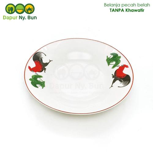 Foto Produk Piring Makan Keramik Motif AYAM JAGO DAUN Ukuran 9 Inch dari Dapur Ny.Bun