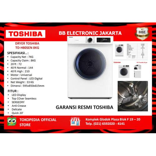 Foto Produk MESIN PENGERING Dryer SenseDry TOSHIBA TD-H80SEN 8KG dari BB ELECTRONIC