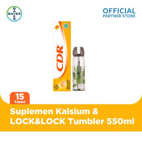 Foto Produk CDR Rasa Jeruk 15 Tab & LOCK&LOCK Silicone Strap Bottle 550 ml dari Bayer Health Partner