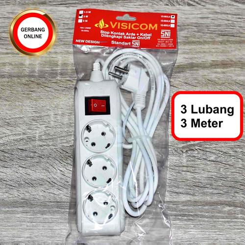 Foto Produk Stop Kontak Visicom 3 4 5 Lubang 1,5 3 5 Meter Colokan Kabel Panjang - 3 lubang 3meter dari Gerbang Online