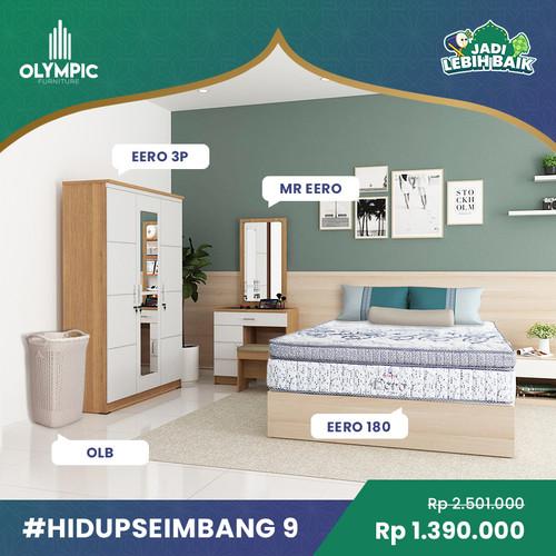Foto Produk Olympic Hidup Seimbang 9 - Lemari Baju + Meja Rias + Springbed - Cokelat dari Olympic Furniture