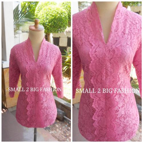 Foto Produk blus atasan kebaya brokat pesta L XL brukat biru toska coklat pink dari Small 2 Big Fashion